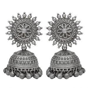 Silver Lookalike Brass Oxidised Statement Jhumki Earrings - Flora Main Image