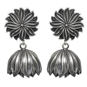 Silver Lookalike Brass Oxidised Stylish Floweret Statement Dangler Earrings Main Image