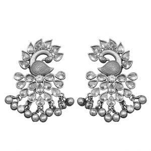 Silver Lookalike Brass Oxidised Stylish Peafowl Stud Earrings Main Image