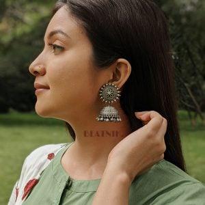 Silver Lookalike Brass Oxidised Statement Jhumki Earrings - Flora Lifestyle Image