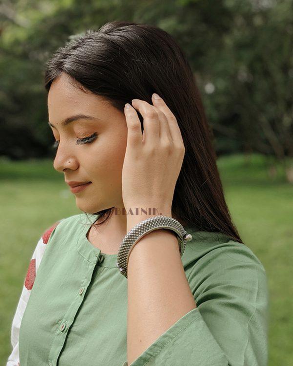 Silver Lookalike Brass Oxidised Boho Patterned Motif Bangle – Adjustable Lifestyle Image