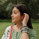 Silver Lookalike Brass Oxidised Boho Patterned Motif Bangle – Adjustable