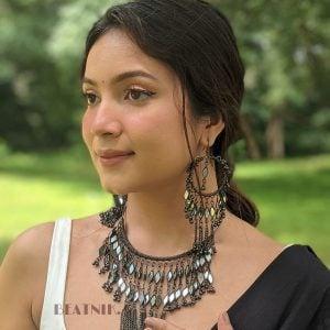 Boho Afghani Oxidised Silver Hanging Necklace Earrings Set - White Lifestyle Image