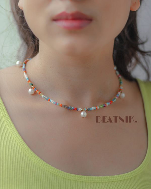 Hand Beaded Dainty and Colorful Pearl Necklace Lifestyle Image