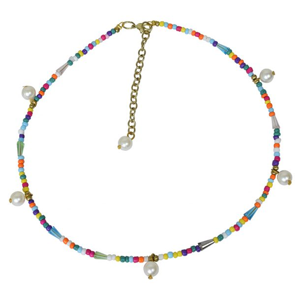 Hand Beaded Dainty and Colorful Pearl Necklace Main Image