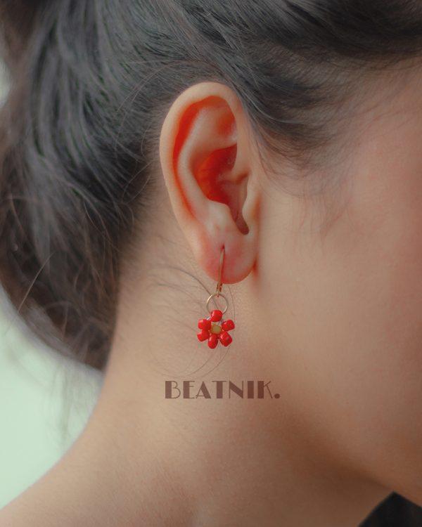 Hand Beaded Dainty Trinket Hoop Earrings - Red Daisy Lifestyle Image