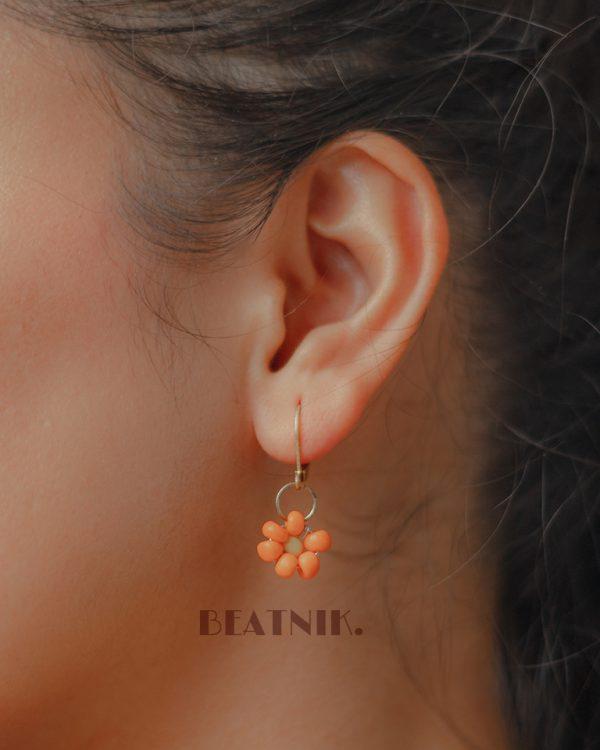 Hand Beaded Dainty Trinket Hoop Earrings - Yellow Daisy Lifestyle Image