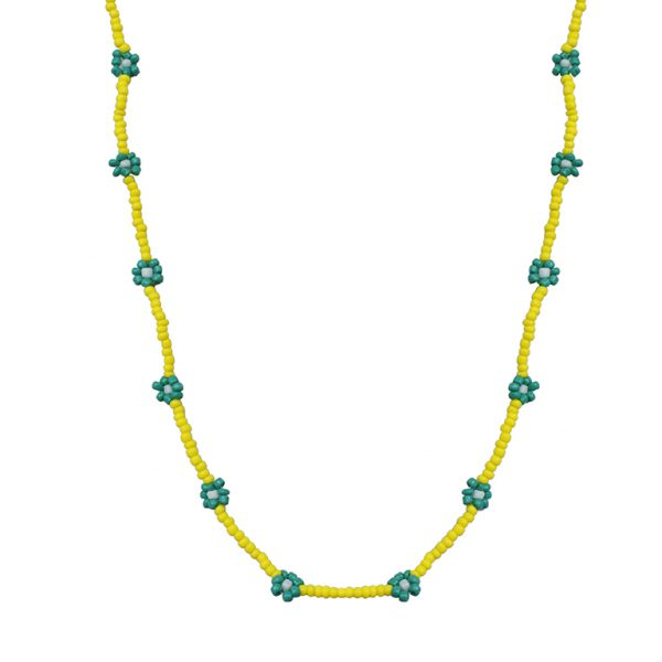 Hand-beaded Minimal Statement Necklace - Green and Yellow Bloom Main Image