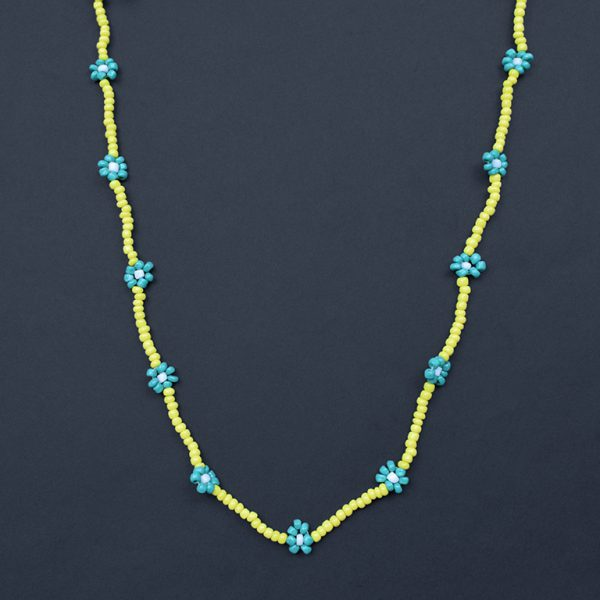 Hand-beaded Minimal Statement Necklace - Green and Yellow Bloom On Black Background