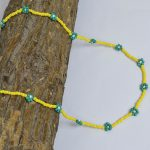 Hand-beaded Minimal Statement Necklace – Green and Yellow Bloom