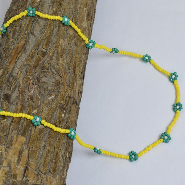 Hand-beaded Minimal Statement Necklace - Green and Yellow Bloom On Wooden Log