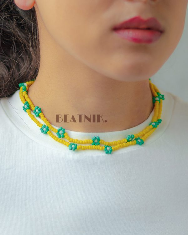 Hand-beaded Minimal Statement Necklace - Green and Yellow Bloom Lifestyle Image