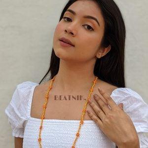 Hand-beaded Minimal Statement Necklace - Orange and Yellow Bloom Lifestyle Image