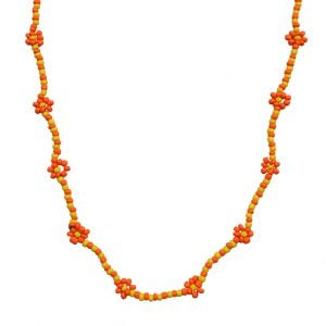 Hand-beaded Minimal Statement Necklace - Orange and Yellow Bloom Main Image