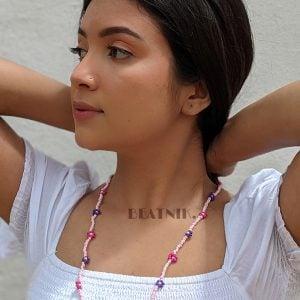 Hand-beaded Minimal Statement Necklace - Purple Bloom Lifestyle Image