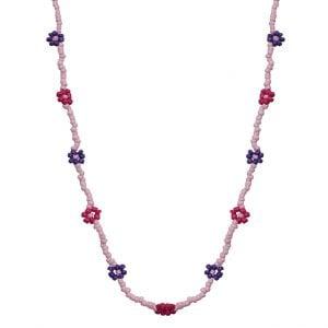 Hand-beaded Minimal Statement Necklace - Purple Bloom Main Image