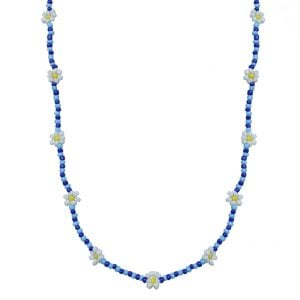 Hand-beaded Minimal Statement Necklace - White and Blue Bloom Main Image