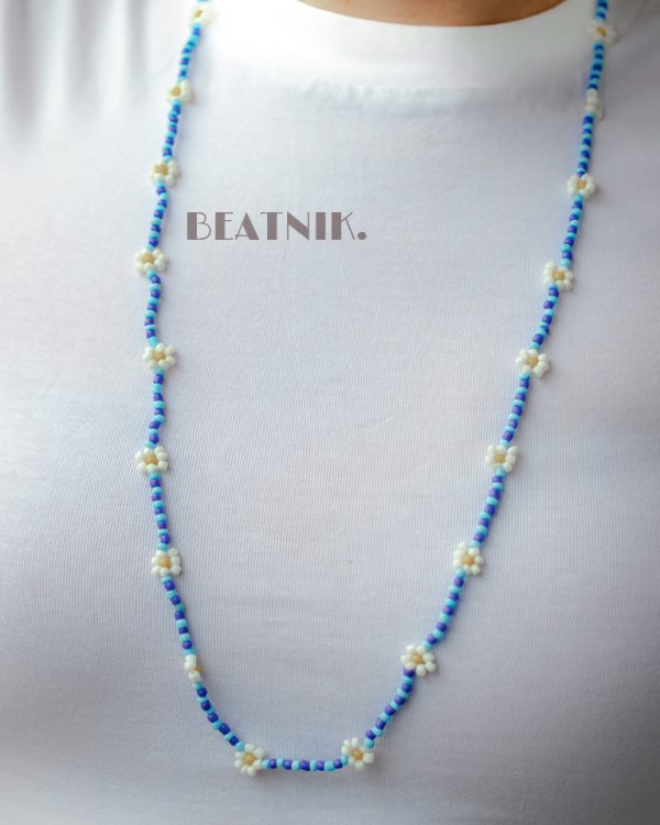Hand-beaded Minimal Statement Necklace - White and Blue Bloom Lifestyle Image