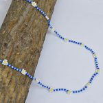 Hand-beaded Minimal Statement Necklace – White and Blue Bloom