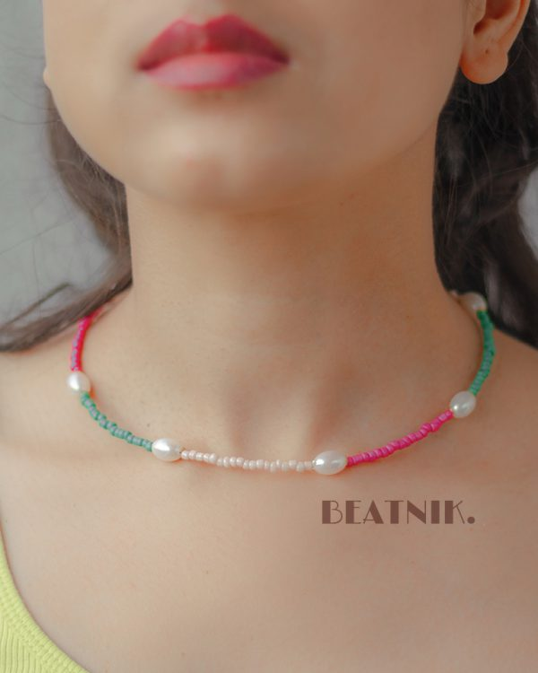 Hand Beaded Minimal Statement Pearl Necklace Lifestyle Image
