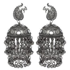 Lightweight Boho Peacock Motif Black Metal Jhumki Earrings Main Image