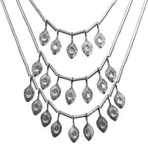 Oxidised Silver Antique Bohemain Layered Long Necklace Main Image