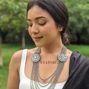 Oxidised Silver Antique Bohemian Mirror Chain Necklace Lifestyle Image