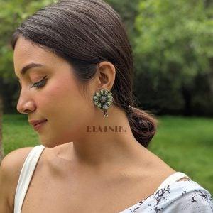 Oxidised Silver Antique Boho Rhinestone Earrings Lifestyle Image