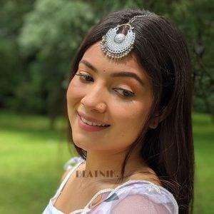 Oxidised Silver Round Boho Maang Tikka Lifestyle Image