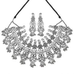 Silver Lookalike Brass Oxidised Antique Floret Motif Necklace Earrings Set Main Image
