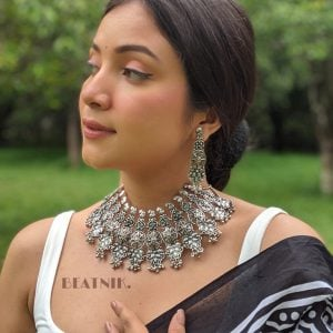 Oxidised Silver Statement Antique Floret Motif Necklace Earrings Set Lifestyle Image