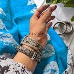 Silver Lookalike Brass Oxidised Antique Statement Bangle – Adjustable