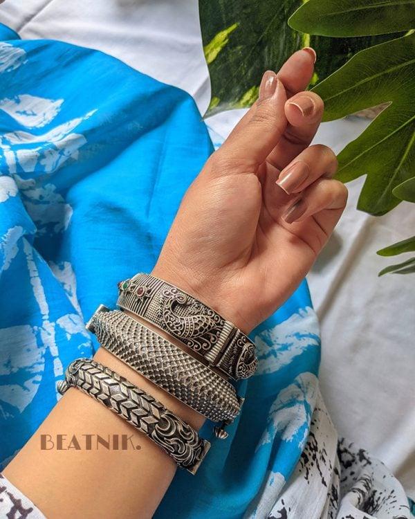 Silver Lookalike Brass Oxidised Antique Statement Bangle – Adjustable Lifestyle Image