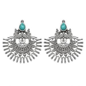 Silver Lookalike Brass Oxidised Antique Turquoise Tinged Dangler Earrings Main Image