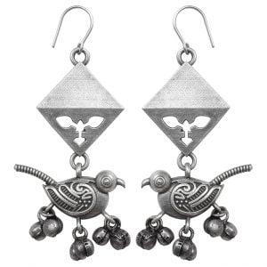 Silver Lookalike Brass Oxidised Avis Embellished Dangler Earrings Main Image