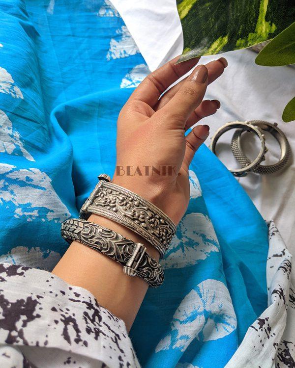 Silver Lookalike Brass Oxidised Bohemian Statement Round Bangle – Adjustable Lifestyle Image