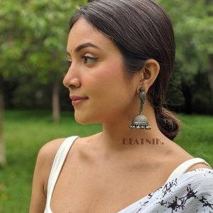 Silver Lookalike Brass Oxidised Boho Statement Parakeet Jhumki Earrings Lifestyle Image