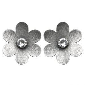 Silver Lookalike Brass Oxidised Flowery Stud Earrings Main Image