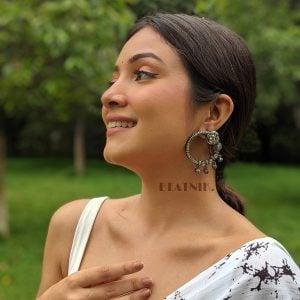 Silver Lookalike Brass Oxidised Minimal Statement Stud Earrings Lifestyle Image