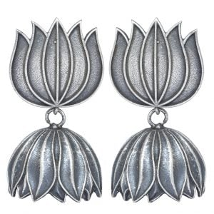 Silver Lookalike Brass Oxidised Nalini Motif Dangler Earrings Main Image
