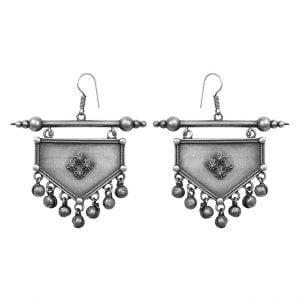 Silver Lookalike Brass Oxidised Quriky Bohemian Dangler Earrings Main Image