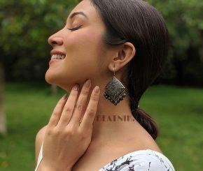 Silver Lookalike Brass Oxidised Square Statement Jhumki Earrings Lifestyle Image