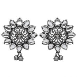 Silver Lookalike Brass Oxidised Stylish Rhinestone Stud Earrings Main Image