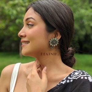 Oxidised Silver Stylish Statement Rhinestone Stud Earrings Lifestyle Image