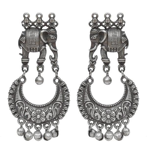 Silver Lookalike Brass Oxidised Traditional Elephant Jhumki Earrings Main Image