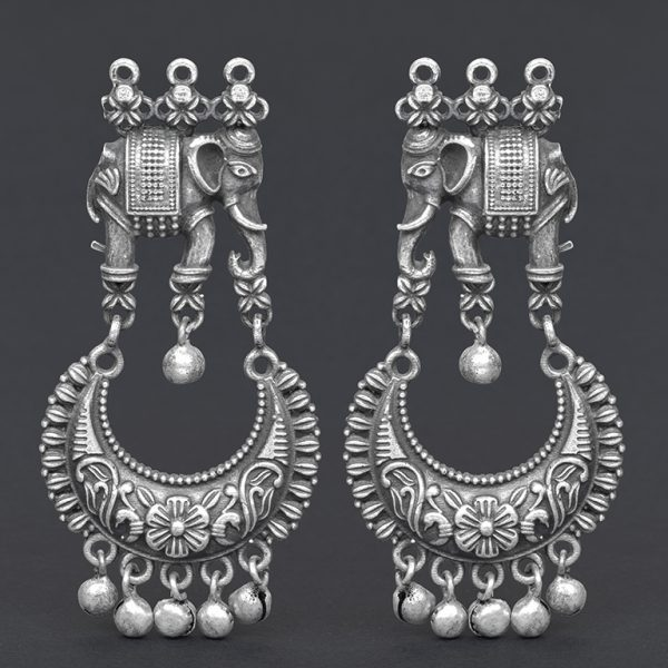 Silver Lookalike Brass Oxidised Traditional Elephant Jhumki Earrings On Black Background