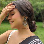 Silver Lookalike Brass Oxidised Traditional Elephant Jhumki Earrings